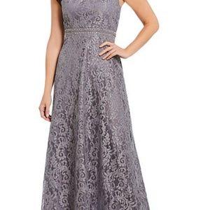Floor length gray lace dress Size 16